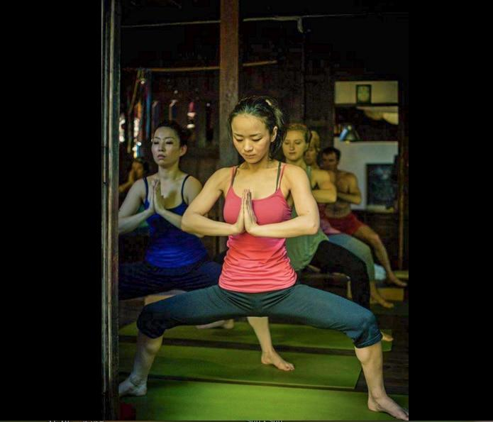 Ayurvedic Yoga Class at Wild Rose Yoga Chiang Mai Thailand in the Old City.